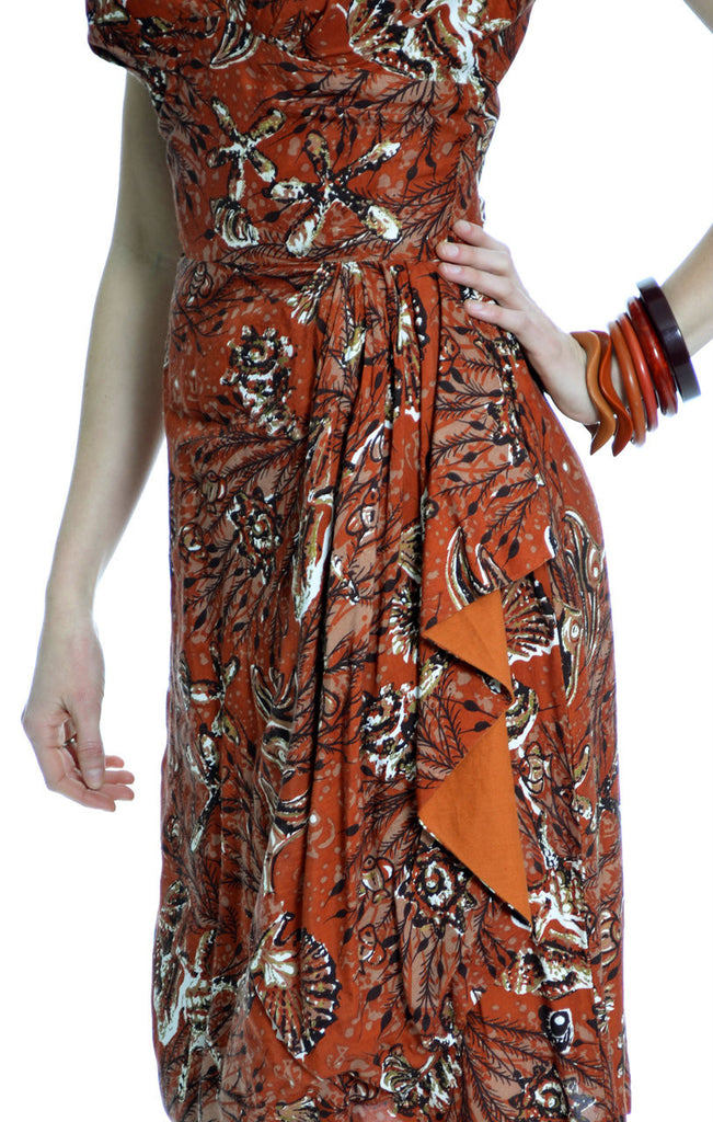 vintage tropical print sarong dress