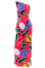 Scaasi Pop art floral blue red white yellow green dress