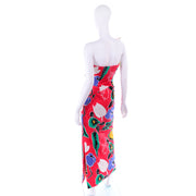 Scaasi Bold Red Floral Asymmetrical Bustline Strapless Dress w/ Sequins