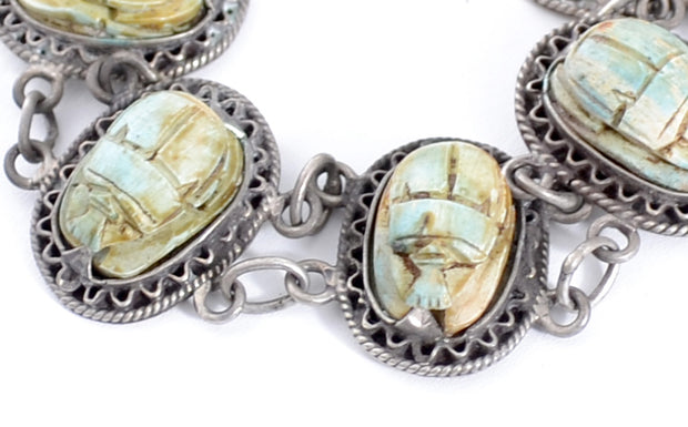 Authentic Egyptian Scarab Bracelet Hallmarked Silver - Dressing Vintage