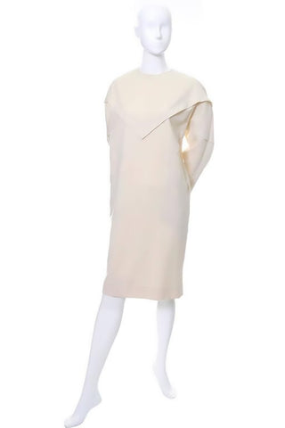 1980's Cream Shamask Original Wool Dress  Triangle Panel Vintage Size 6/8
