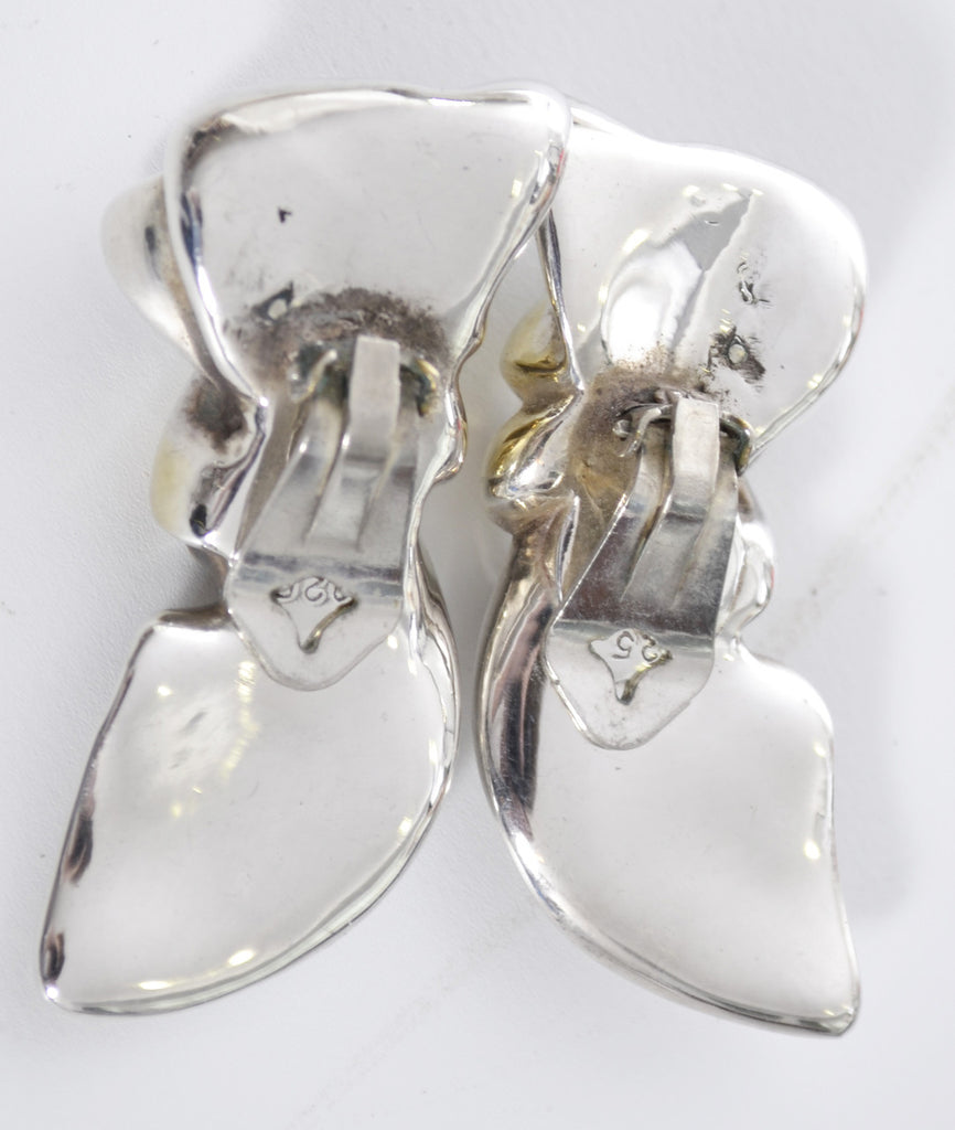 Signed sterling silver wax casting vintage earrings
