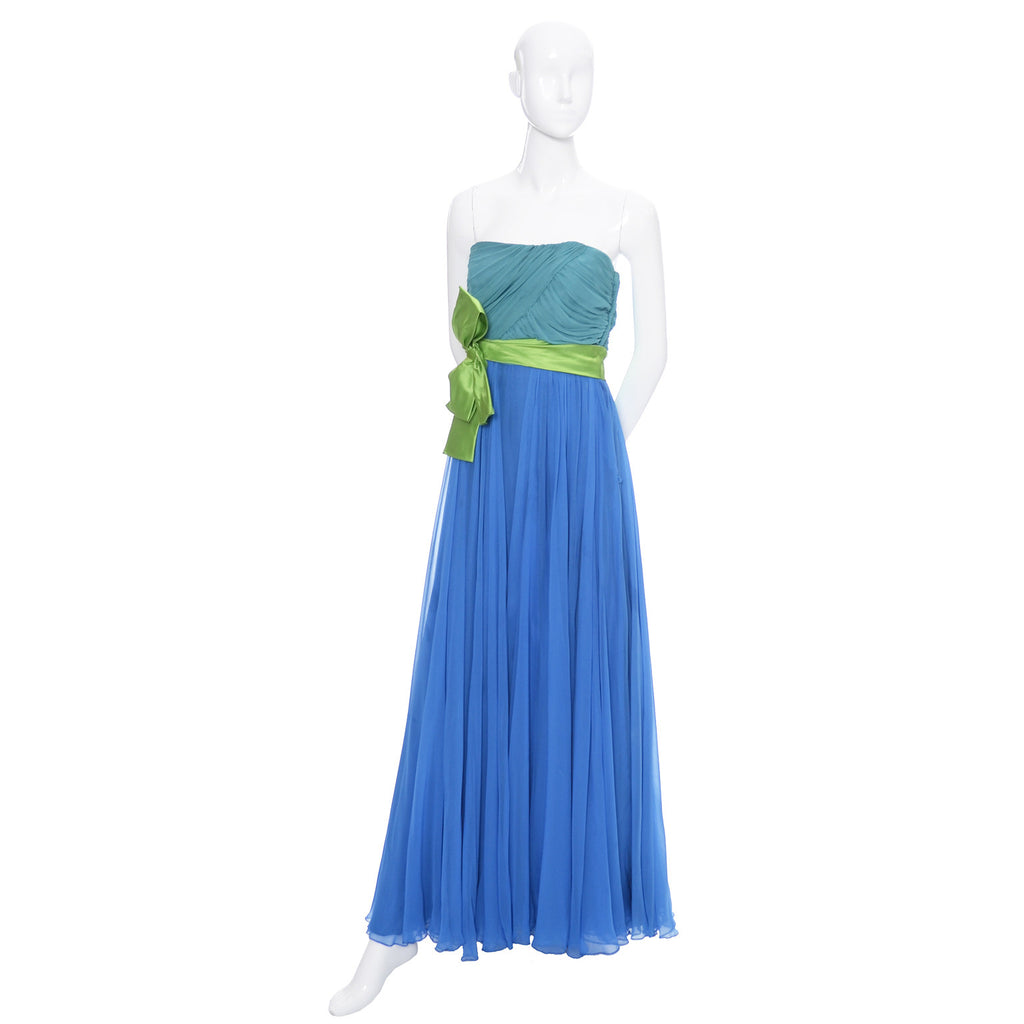 1960s Evening Gown Vintage Dress Silk Chiffon