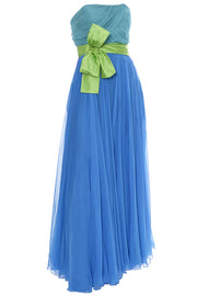 1960s Silk Chiffon Vintage Formal Dress In Aqua Lime and Blue - Dressing Vintage