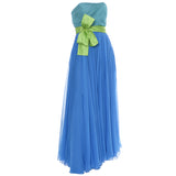 Color Block Vintage Dress Silk Chiffon Aqua Green Bow