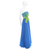 Vintage Dress Color Block Silk Chiffon