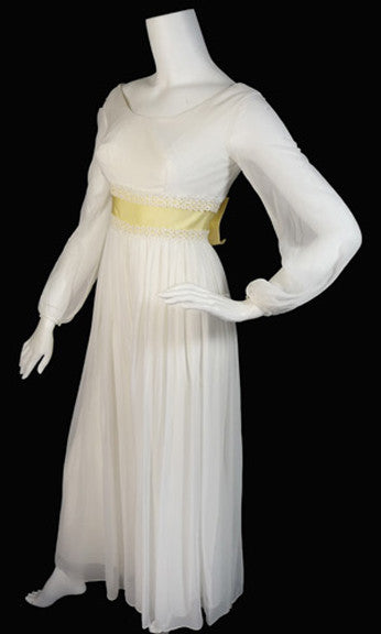 White silk chiffon vintage dress 1960's palazzo pants