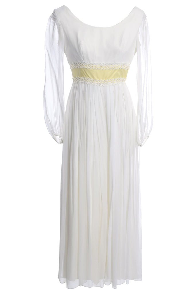 1960s white silk chiffon with palazzo pants