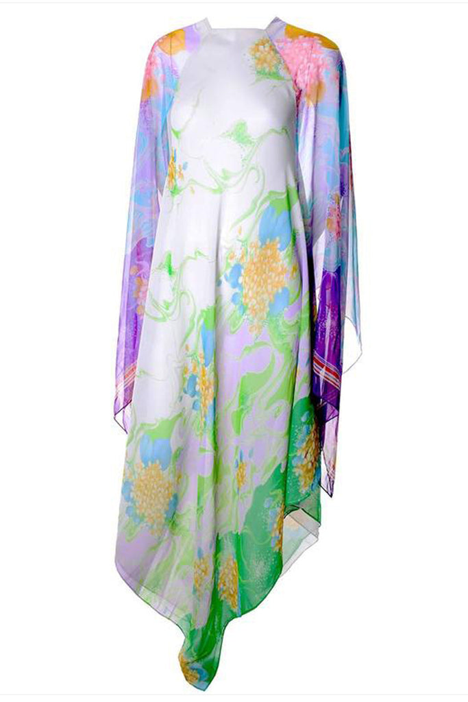 Whimsical 1970s Vintage Flowing Floral Chiffon Caftan S/M