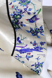 Blue and ivory vintage Chinese silk robe
