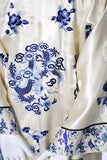 Blue and Ivory vintage Chinese silk robe butterflies birds embroidery
