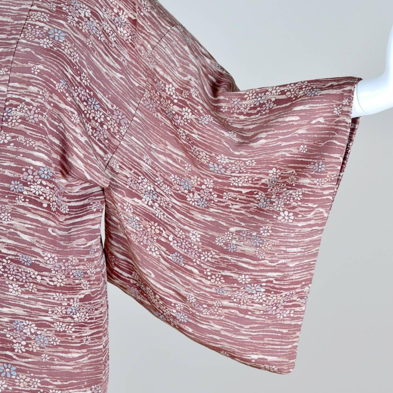 1940's silk hand dyed kimono with burgundy and blue cherry blossoms
