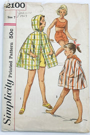 Simplicity 2100 Girls Vintage 1950s Sewing Pattern Crop Top Shorts & Cape Beach cover