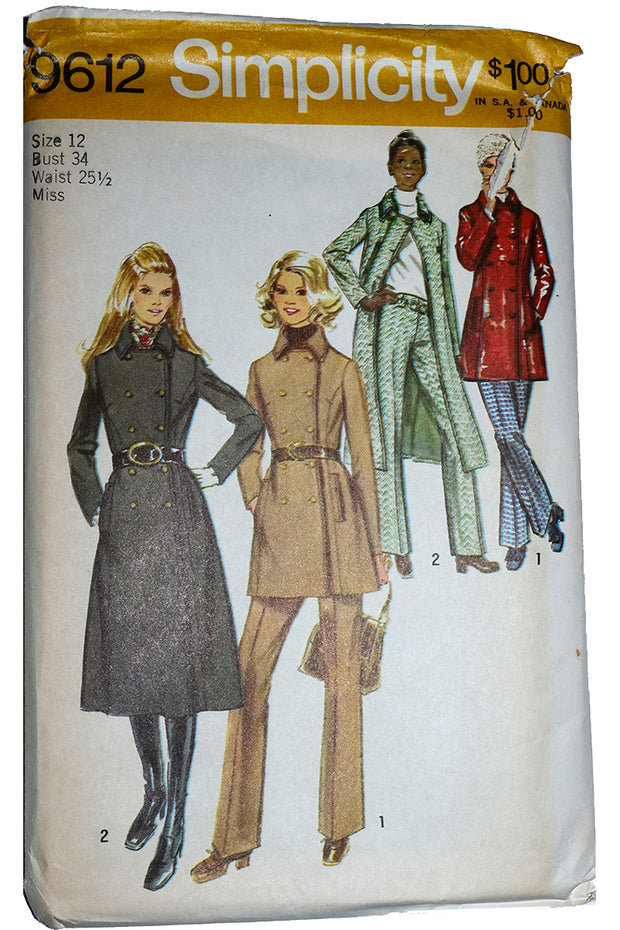 1971 Simplicity 9617 Vintage Coat and Trousers Pattern