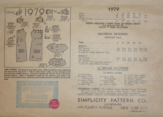 1930s vintage pattern simplicity 1979 Little girls Dress