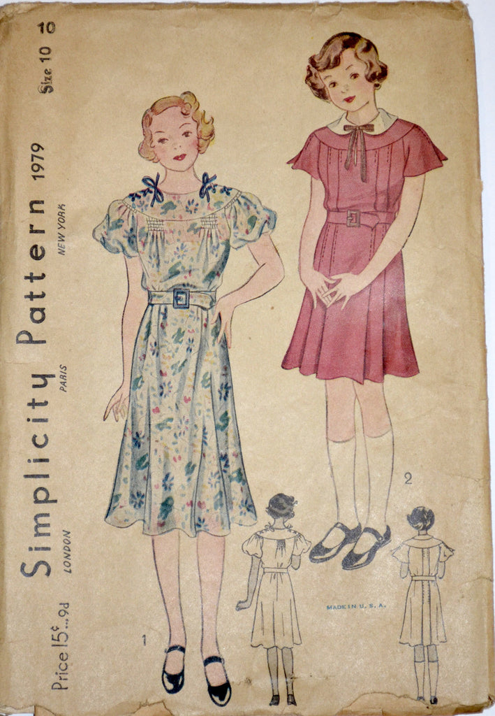 Vintage dress pattern 1930's Simplciity 1979 girls