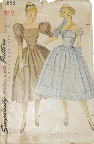 Simplicity 3855 1950s dress pattern Bridesmaids 30B - Dressing Vintage