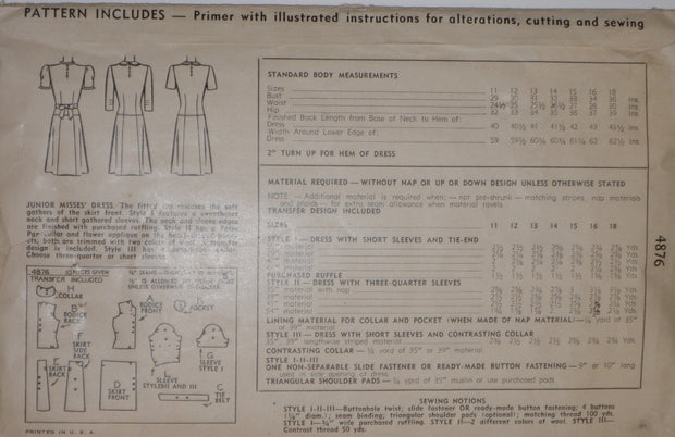"1944 Simplicity 4876 Vintage Dress Pattern WWII 36"" Bust - Dressing Vintage"