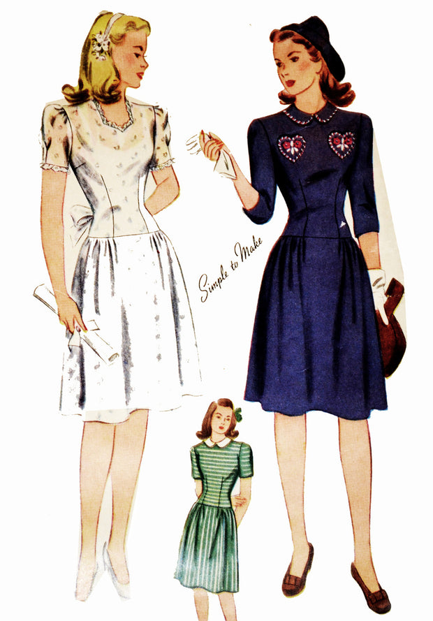 77474d6ebb1 Simplicity 4876 1940 s Wartime vintage dress pattern 33
