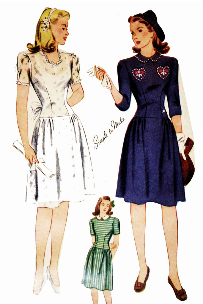 Simplicity 4876 vintage dress pattern WWII