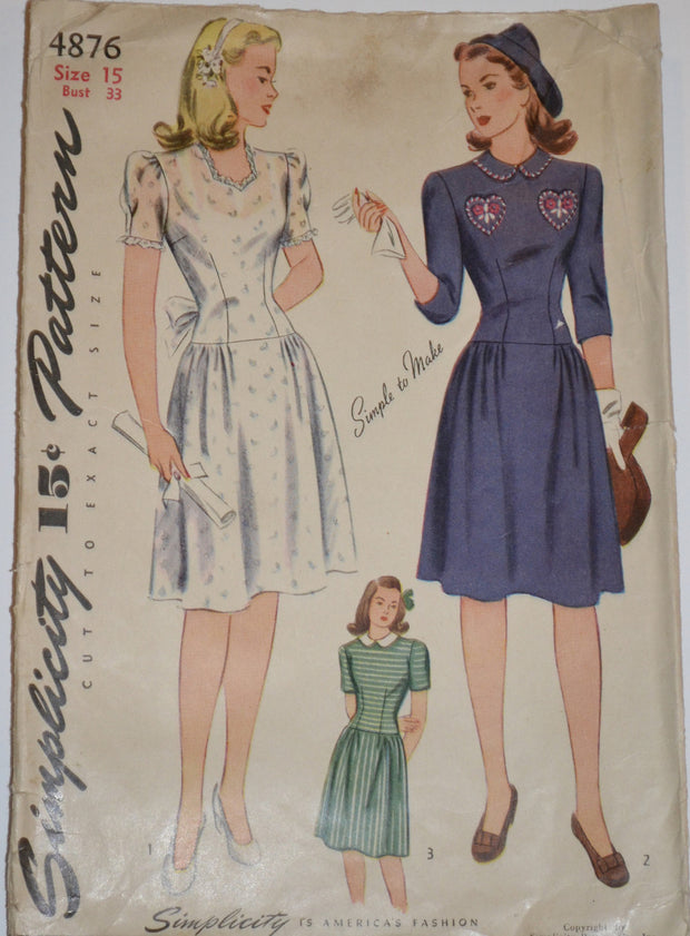 "Simplicity 4876 1940's Wartime vintage dress pattern 33"" bust - Dressing Vintage"