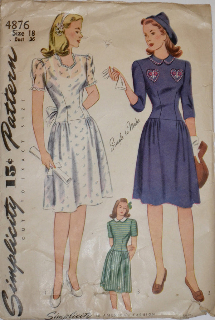 WWII Wartime vintage dresses Simplicity 4876 pattern