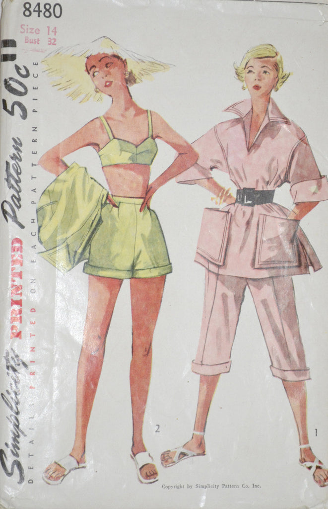 Vintage Simplicity 8480 pattern pedal pushers