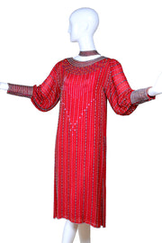 Vintage red silk beaded dress with leg of mutton sleeves