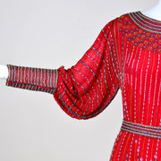 1980s Red Silk Beaded Vintage Dress in 1920s Style w/ Original Belt