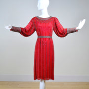 Red silk beaded vintage dress in 1920s flapper style