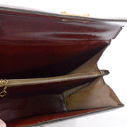 1960s Reptile Embossed Brown Leather Structured Handbag