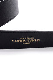 1980's Sonia Rykiel Black Leather Logo Belt