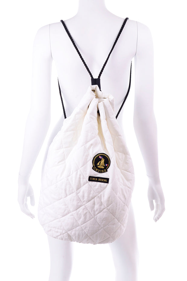 White Sonia Rykiel Cruise Backpack or Drawstring Bag