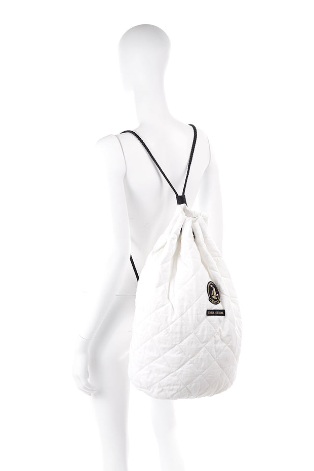 White Vintage Sonia Rykiel Cruise Backpack or Drawstring Bag