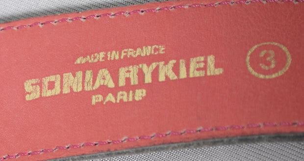 Sonia Rykiel Paris Pink Leather vintage belt 1980's - Dressing Vintage