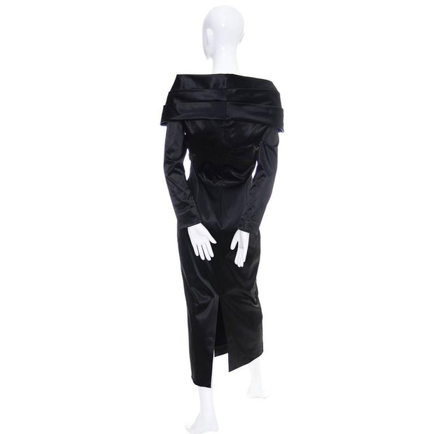 1990's avant garde Sophie Sitbon black tie cocktail dress with large shawl collar