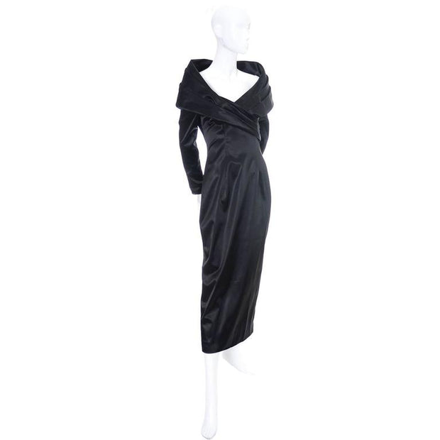 Black designer evening gown with large shawl collar