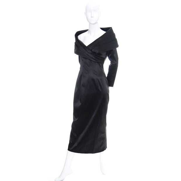 1990's Sophie Sitbon black stretch liquid satin evening gown with large avant garde shawl collar