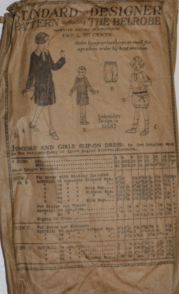 1920's Standard New Idea Designer Girls Vintage Dress Pattern - Dressing Vintage