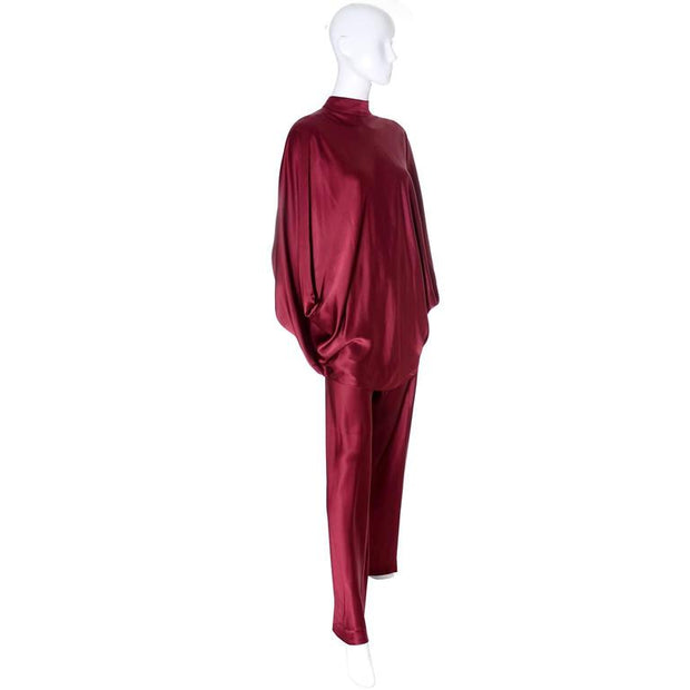 George Stavropoulos burgundy silk evening ensemble with draped, high neck top and matching pants