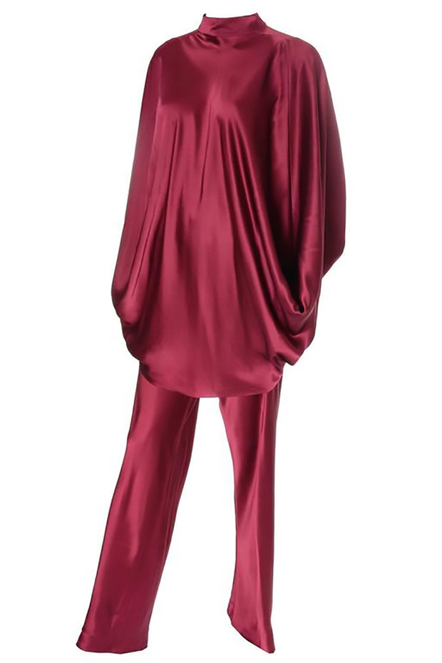 George Stavropoulos burgundy silk top and pants outfit