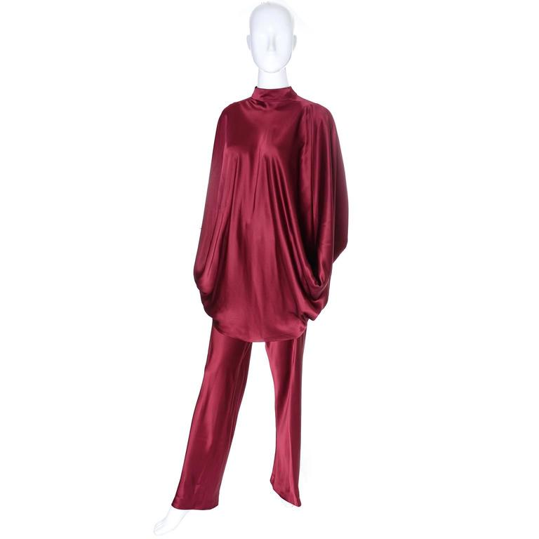 Late 1970's Stavropoulos burgundy silk ensemble with top and pants