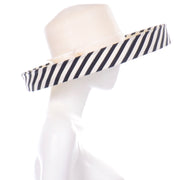 Spring Summer Frank Olive Vintage Hat w Black & White Stripe Upturned Brim