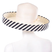 Frank Olive Vintage Hat w Black & White Stripe Upturned Brim Dramatic