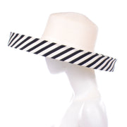 Frank Olive Vintage Hat w Black & White Stripe Upturned Brim Statement