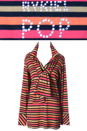 2 Pc Sonia Rykiel POP Rhinestone Vintage Striped Tops France - Dressing Vintage