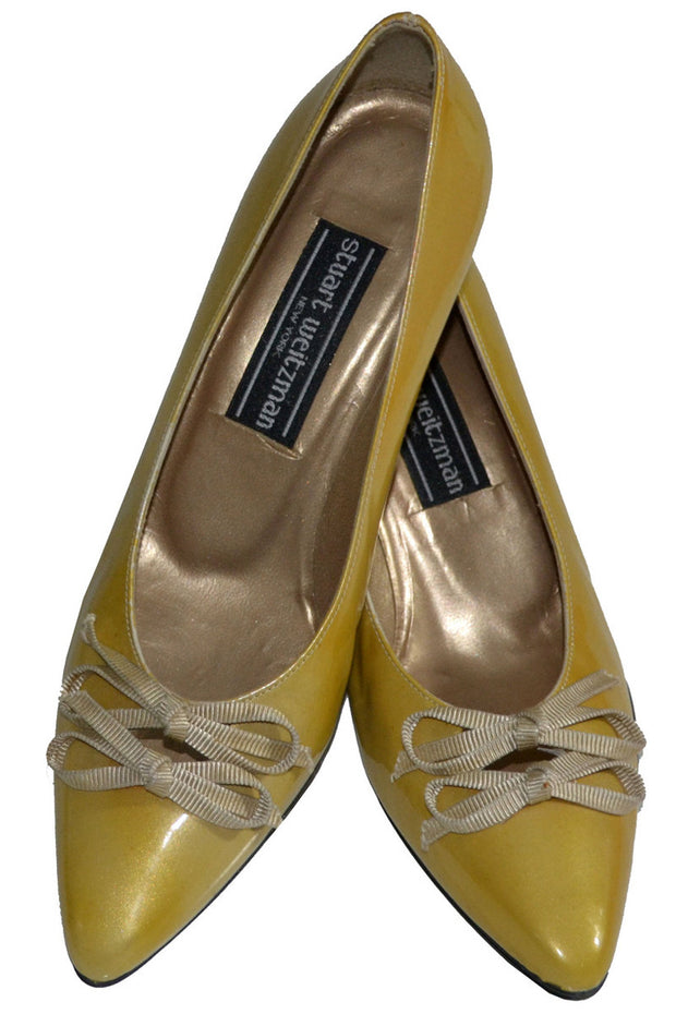 NEW vintage Stuart Weitzman golden yellow patent leather shoes 6 1/2 - Dressing Vintage