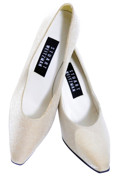 NEW Stuart Weitzman Champagne Shimmer Shoes 6B wedding bridal - Dressing Vintage