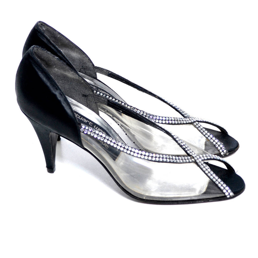 Vintage Stuart Weitzman Rhinestone Clear and Black Satin Shoes Size 7 - Dressing Vintage