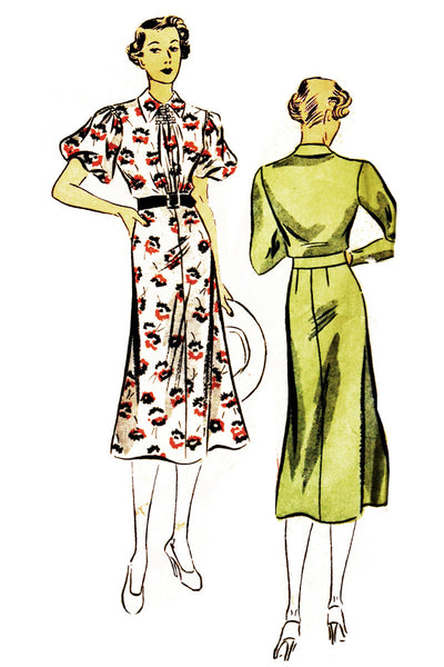 "1930's Vintage Dress Pattern Superior 329 38"" Bust - Dressing Vintage"